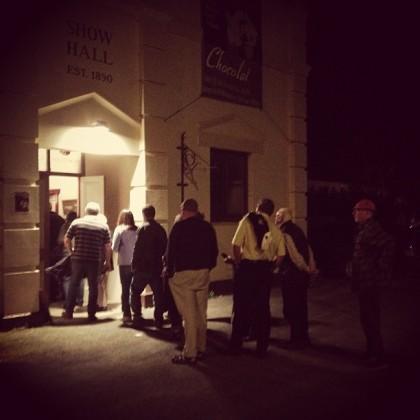 The ticket queue for Cinemallunga's screening of Chocolat